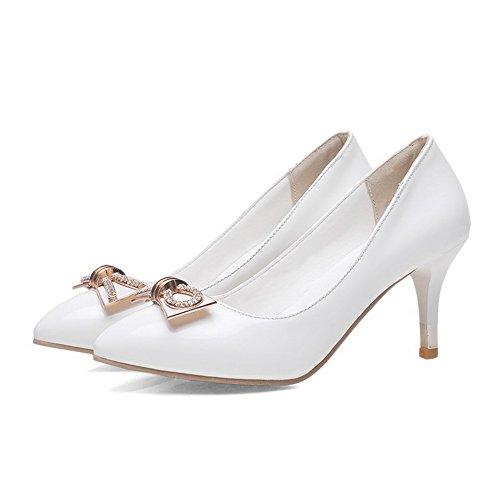 AllhqFashion Femme Couleur Unie Suédé à Talon Correct Fermeture D'Orteil Pointu Tire Chaussures Légeres Blanc