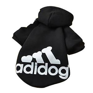 Eastlion Adidog Hund Pullover Welpen-T-Shirt Warm Pullover Mantel Pet Kleidung Bekleidung, Schwarz, Gr. XL