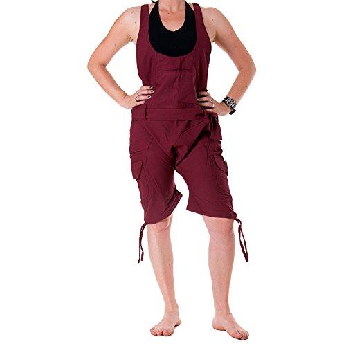 Vishes – Alternative Bekleidung – Kurze Harems-Latzhose aus Baumwolle Dunkelrot einfarbig 44