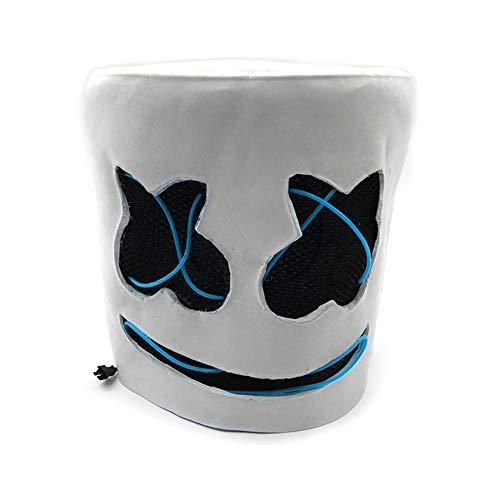 WEISY LED Marshmello Light Up Helm DJ Maske Vollgesichtsbedeckter Helm Halloween Cosplay Latex Maske Bar Musik Requisiten/DJ Dekokissen Abdeckung/Plüschtier