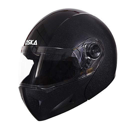 Steelbird SB-41 Oscar Classic Oska Flip Up Helmet (600MM Large, Classic Black With Plain Visor)