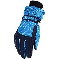 WEHOLY - Guantes de esquí para Exteriores, cálidos, Resistentes al Viento, Forro Polar, para Deportes y equitación, con Dedos completos, Azul