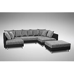 Sofa Couch Ecksofa Eckcouch in schwarz / hellgrau Eckcouch mit Hocker- Minsk XXL