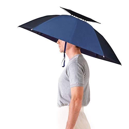 Aoneky Sombrero Paraguas para el Sol y Lluvia Plegable Adjustable Sombrero de Pesca de 31