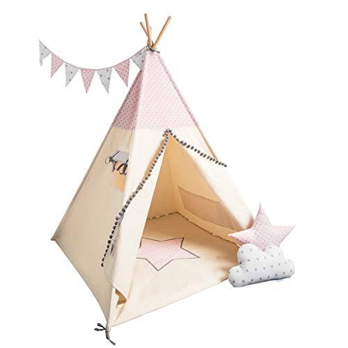 cozydots Indianer Tipizelt Set für Kinder im Alter von 0-7 Jahren, 150 cm hoch, ideal für kreativen Spaß für Mädchen, Indianer Abenteuerzelt (Little Pink Stars)