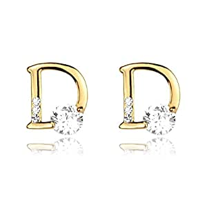 Plaqué or boucles d'oreilles en strass Design lettres