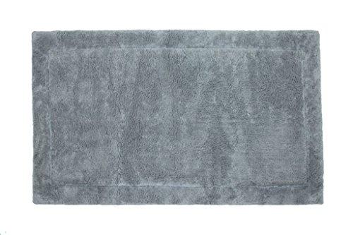 Casalanas - Santorin, Beidseitig verwendbar, Schwerer Badezimmerteppich, 100% Natur-Baumwolle, 100x60cm, hell grau