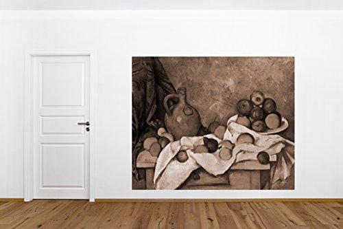 Fototapete selbstklebend Paul Cézanne - Alte Meister - Stillleben mit Vorhang, Krug und Obstschale - sephia 220x180 cm - Wandtapete - Poster - Dekoration - Wandbild - Wandposter - Bild - Wandbilder - Wanddeko -