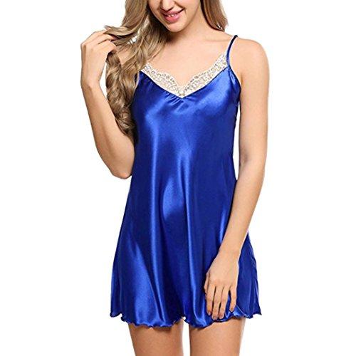 MOIKA Damen Lace Nachtwäsche, New Frauen Nachtwäsche Nachtwäsche Spitze Spice Dessous G-String Strap Kleid Nachtwäsche Unterwäsche(EU44/L,Blau) (Kariertes Weihnachts-pyjamas)