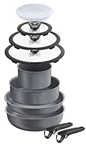 Lagostina Ingenio Induction Batteria di Pentole, Alluminio Antiaderente, Effetto Pietra, 10 Pezzi
