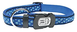 Dogit Style Footloose Adjustable Nylon Collar with Plastic Snap and ID Plate, Large 3/4-Inch by 16-Inch to 22-Inch, Blue on Blue Nylon