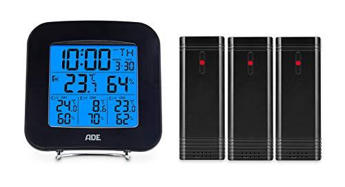 ADE Digitales Thermo-Hygrometer WS 1823 (mit 3 Funk-Sensoren, präzise Anzeige von Temperatur und Luftfeuchtigkeit, Uhr mit Datum und Wecker) schwarz -