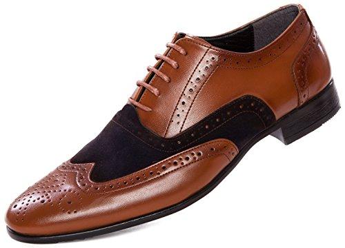 Budapester Schnürhalbschuhe Oxford Herrenschuhe Brogues Schuhe, Herren (42, Braun)