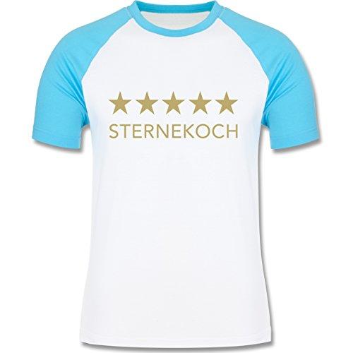 Shirtracer Küche - 5 Sterne Sternekoch - Herren Baseball Shirt Weiß/Türkis