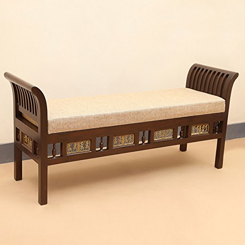Exclusivelane Royal Teak Wood Seating Bench With Dhokra Work (Brown)