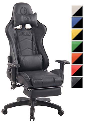 CLP Chefsessel Turbo XFM Kunstleder mit Massagefunktion l Höhenverstellbarer Bürostuhl mit ausziehbarer Fußablage und beheizbarem Sitzbereich schwarz/schwarz