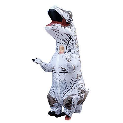 OLLVU Kinder Tyrannosaurus Aufblasbare Kleidung Weihnachten Halloween Dinosaurier Cartoon Puppen Requisiten Party Cosplay Kostüm Dinosaurier Spielzeug Overall (Color : White, Size : 120-140cm) (Dinosaurier Puppe Kostüm)