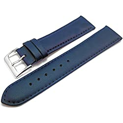 Blue Padded Leather Watch Strap Band With A Stitched Edging And Nubuck Lining 18mm