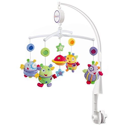 Fehn 093704 Musik Mobile Blobbs - Spieluhr-Mobile mit niedlichen Außerirdischen für Babys von 0-5 Monaten – Zum Aufziehen und Montieren am Kinderbett – Höhe: 65 cm, ø 40 cm
