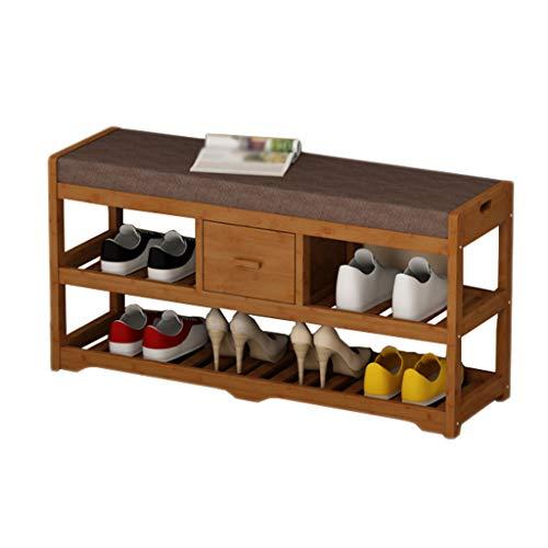 Braun Farbe Schuhe Hocker Holzsitz Doppel Einzel Schublade Lagerregal Sofa Tür Rest Wohnzimmer Balkon Korridor 90 cm * 33,5 cm * 45 cm FANJIANI -