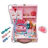 ZUJI Arztkoffer Kinder, 34er Set Kinder Doktorkoffer Holz Spielzeug Medizinisches Doktor Rollenspiel für Kinder ab 3 Jahren (Rosa)