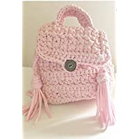 Elegante mochila infantil de color rosa de 20/16/21 cm con hilo de