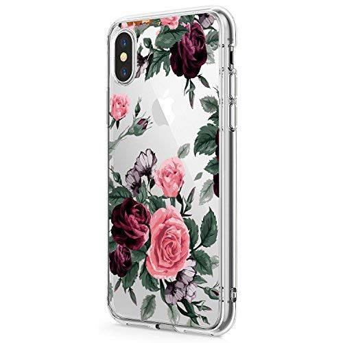 Hülle Compatible with Apple iPhone Xr Hülle Weich TPU Silikon Cover Transparent iPhone XS Handyhülle Schutzhülle Blume Muster Case für Apple iPhone XS Max Phone (XR, 9) -