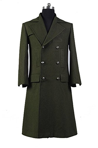 Doctor Who Dr. Dark Green Long Wool Trench -