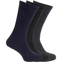 calcetines para diabéticos ajuste confort extra anchos (3 pares) (39-45 EU/Marino/Negro)