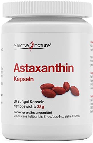 Effective nature Astaxanthin Kapseln - Mit Vitamin C und E, Aus kontrollierter Algenkultur in Schweden, 8mg Astaxanthin pro Tagesdosis, Reicht für 60 Tage, Natürliches Astaxanthin, 60 Kapseln