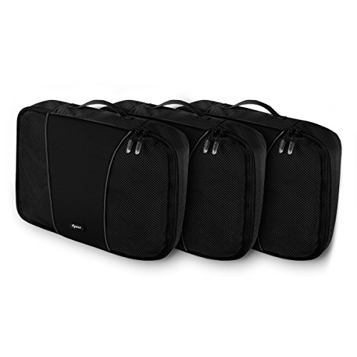 Ryaco Organizador Maleta Viaje, 3 Piezas Organizador de Equipaje Bolsa para Ropa Sucia de Viaje, Material Nylon (Paquete de 3 Medio, Negro)