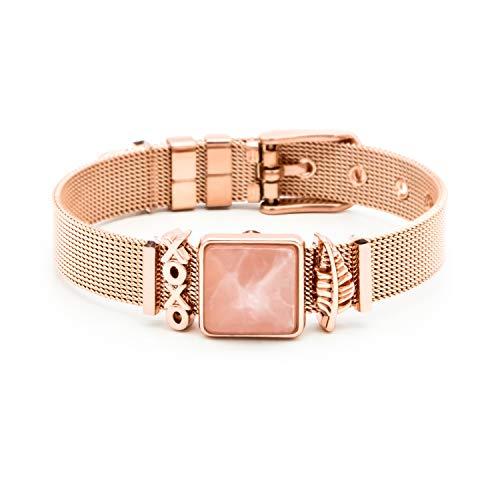 THIORA® - Classic Line   Mesh Armband Damen   Charmband Set   Individuelle Anhänger Charms für Frauen   Edelstahl   Silber Rosegold Gold Bracelet (Hugs & Kisses - Rosegold)