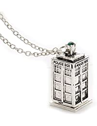 Bold N Elegant Vintage Jewelry Doctor Who 3D Antique Silver Tardis Police Box Pewter Tall Long Chain Pendant Necklace