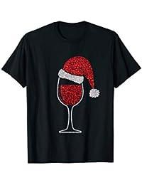 Glas Rotwein Mit Weihnachtsmütze Lustiges Wein T-Shirt