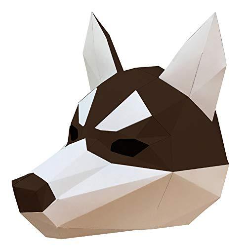 ZYWX DIY Husky Tier Papierform DIY Material Party Masquerade, Dekoration, Dekoration, Schatten, Weihnachts-/Halloween-Maske,1