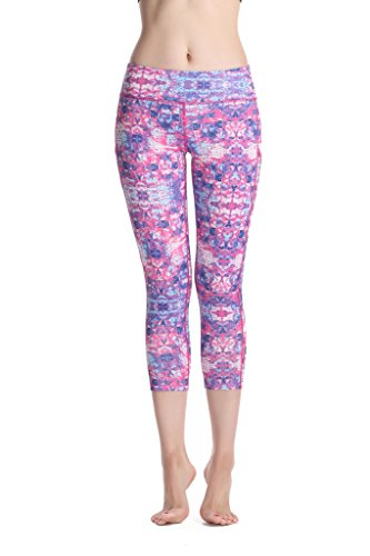 Sosite Damen Yoga Mesh Pants Workout Gym Fitness Capri Cropped Leggings - Violett - Small:Taille: 64 cm, Hüften: 76 cm, Länge: 68 cm -