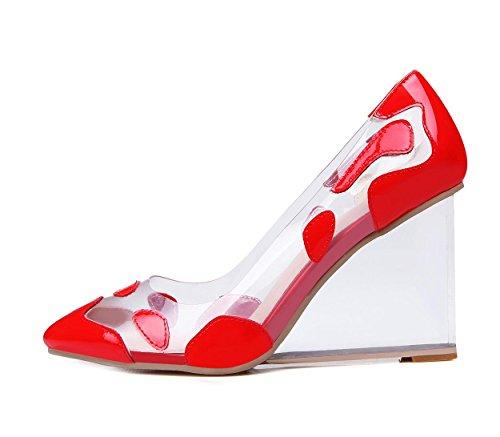WSS chaussures à talon haut Quatre saisons des cristaux transparents avec cuir sexy qualité européenne cales chaussures red paint