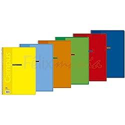 6x Bloc Cuaderno Campus A4 80 Hojas Tapa Polipropileno Eco 90gr Doble Raya 2,5mm