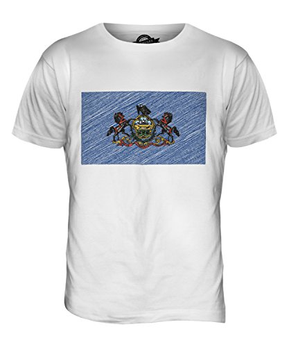 CandyMix Bundesstaat Pennsylvania Kritzelte Flagge Herren T Shirt Weiß