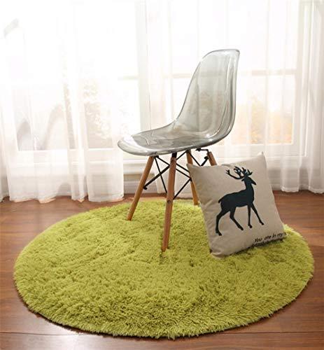 LAMEDER Wohnzimmer Teppich,Dicker runder Teppich Schlafzimmer Wohnzimmer Fußmatte Couchtisch Hängekorb Tatami Yogamatte grün, 140 × 140cm
