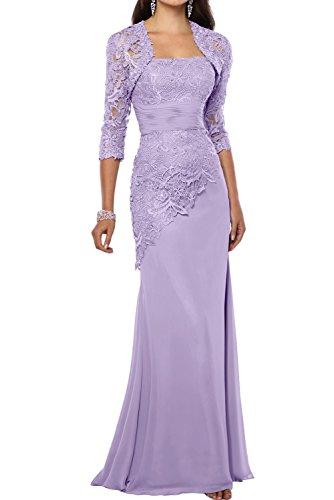 La_mia Braut Traube Langes Brautmutterkleider ABendkleider mit spitze Ballkleider Etuikleider mit Langarm Bolero Lilac