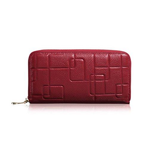 CLOTHES- Sacchetto di borsa dell'inarcamento della borsa del raccoglitore del cuoio della signora della borsa Sezione lunga Semplicità di svago Borsa di multi-card di capacità elevata ( Colore : Viola Rosso