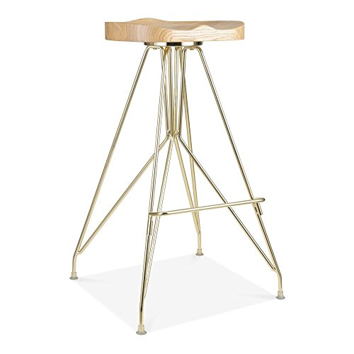 Cult Design Tabouret de Bar en Métal Moda CD1, Assise en Bois Frêne, Or 76cm