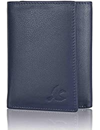 HORNBULL Navy Blue Tri-fold Leather Wallet