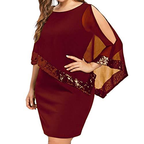 iYmitz Damen Übergröße Kleid Ärmellos Minikleid Chiffon Cocktailkleid Pailletten Pencil Partykleid Casual Kleidung Abendkleid Frauenkleid O-Neck Kleid für Frauen(rot,EU-46/CN-S)