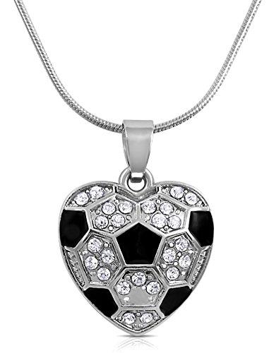 Fußball Herzform Kristall Halskette für Mädchen, Teenager und Frauen von Glamour Girl Geschenke Kollektion (Special Olympics Coach)