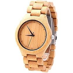 mercimall® alle Bambus Holz Kunstharz Handgelenk Uhren für Männer und Frauen mit Holz Uhr Band Armband