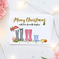 Personalised Christmas Card Packs of Ten, Family Wellington Boots, Free Envelopes