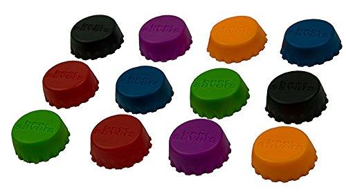 12er Set Silikon–Kronkorken, Beer Saver, Bier–Kapseln, Flaschenverschluss, für Flaschen, Caps, Wein– und Saftflasche, Deckel, Verschluss, Markierer, Stöpsel, Deckel, Farbe: Bunt von BlueFox (6 Stand Tier)