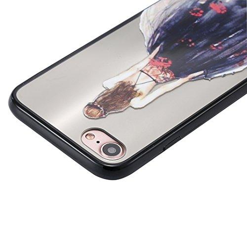 iPhone 7 Spiegel Hülle, Rosa Schleife Weiche TPU Silikon Schutzhülle Handyhülle Backcover Glitzer Mirror Cases mit Schmetterling schönes Mädchen Muster Design für iPhone 7 Lila Schmetterling Kleid Schwarz Kleid